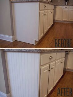 Add paneling to open cabinet sides for a quick and easy updated look. Wood glue and caulk before priming and painting.