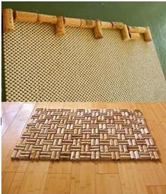I love this idea! My kitchen is in a wine theme and I'm always buying new kitchen rugs - these will be easy to make and offer my tired legs some relief while standing at the sink to do the dishes or cook over the stove. :) I'm going to cut the corks in half like the lower photo, but glue them to the skid backing to actually form the mats!