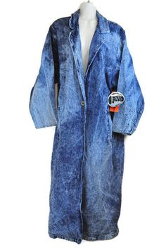 "True vintage Texas Ice ""On the Verge"" acid wash denim trench coat with single button. 100% Cotton. Made in the USA."