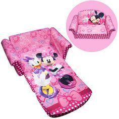 Childrens Sofa Girls Sofa Chair 2-in-1 Flip Open Sofa, Disney Minnies Bow-tique #Marshmallow