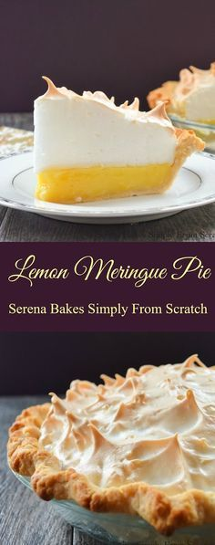 Lemon Meringue Pie with a recipe for a weep free meringue! Easy step by step instructions. Lemon Meringue Pie from scratch with an easy to make weep free meringue recipe is the best pie for dessert from Serena Bakes Simply From Scratch. Lemon Desserts, Lemon Recipes, Tart Recipes, Just Desserts, Baking Recipes, Sweet Recipes, Lemon Pie Recipe, Crust Recipe, Kitchen Recipes
