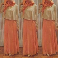 Peach coloured maxi skirt