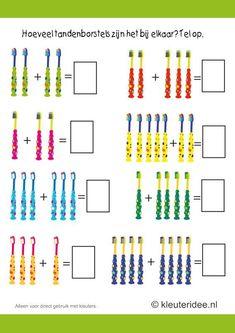 Hoeveel tandenborstels zijn het bij elkaar, kleuteridee.nl , thema tandarts voor kleuter, make the sum of the toothbrushes, free printable.