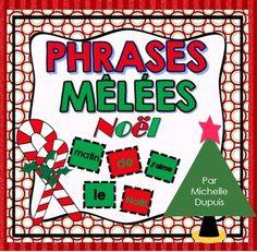 Phrases mêlées de Noël. Les phrases mêlées de Noël sont parfaites pour vérifier les concepts de base de la phrase tels que:  - Majuscule au début de la phrase - Point à la fin de la phrase - Sens de la phrase