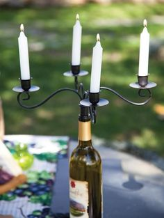 Taper Wine Bottle Candelabra Set of 2