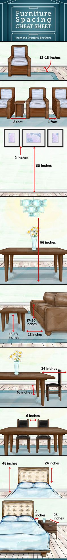 The Property Brothers' Design Cheat Sheet That You Need In their new book Dream Home, the hosts of HGTV's Property Brothers reveal a few essential measurements—from area rug size to chandelier height—that'll help you decorate your space to scale. Property Brothers Designs, Property Design, Furniture Placement, Furniture Layout, Furniture Arrangement, Furniture Design, Space Furniture, Arranging Furniture, Furniture Price