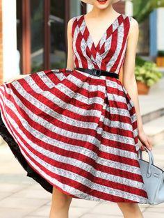 Red V Neck Belted Striped A-Line Dress