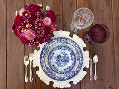Berry Plum and Blue tablescape! @DixiDoesVintage Dixie Does Vintage
