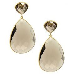 "18k gold clad brass double teardrop earrings with faceted gemstones in smoky topaz.  Product: Pair of earringsConstruction Material: 18k Gold plated brass and gemstonesColor: Smoky topaz and goldFeatures: Double teardropDimensions: 1.5"" H x 0.75"" W eachCleaning and Care: Wipe clean with dry cloth"