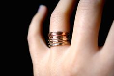 Rose and Yellow Gold fill Stack ring set Rose Gold by hannahnaomi