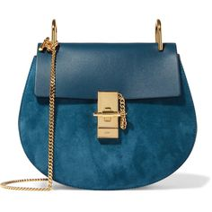 Chloé Drew small leather and suede shoulder bag (5.250 BRL) ❤ liked on Polyvore featuring bags, handbags, shoulder bags, purses, accessories, bolsas, blue, shoulder handbags, leather man bags and shoulder hand bags