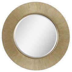 @Overstock.com - Dayton Mirror - This stunning mirror features a ribbed frame and a brilliant champagne finish. The round beveled center mirror will be a splendid accent to your home decor.  http://www.overstock.com/Home-Garden/Dayton-Mirror/8162066/product.html?CID=214117 $317.99