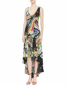 Paisley Crepe de Chine Maxi Dress, Black/Multi by Etro at Bergdorf Goodman.