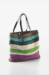 striped straw tote