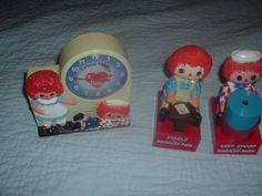 Antique,Original,Working Raggedy Ann Andy Talking Alarm Clock,Sharpener,Stapler. #Janex #Vintage