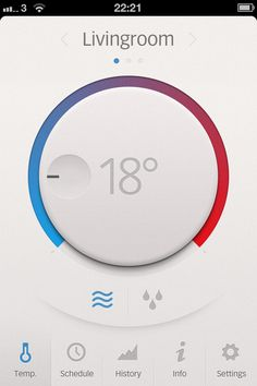 typography not ok(18° looks like -18°). we like the blue & red as temperature indicators. Subtle use of shadows can improve reality feel. Think Google Material design