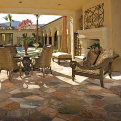 Check out this Slate and Sandstone Collection featuring Golden Sun quartzite natural cleft flagstone on the floor.