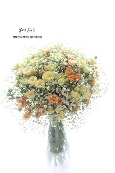 カスミソウのイエローオレンジブーケ … Summer Wedding Bouquets, Bride Bouquets, Flower Bouquet Wedding, Floral Wedding, Beautiful Flower Arrangements, Elegant Flowers, Floral Arrangements, Bunch Of Flowers, Love Flowers