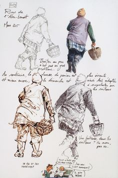 """The banks of the river mouths """"Aber-Benoit"""" // But who is YAL? Yann Lesacher is watercolourist, portraitist, painter, caricaturist and bon vivant. He has a penchant for some humorous drawings ... and for all short drawing. He likes to walk on the GR 34 (walking path that skirts the entire coast of Britain). It has the bright idea to reference in its way, the landscapes, the people and things encountered at random and all seasons."""