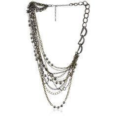 """RJ Graziano """"Dirty Diamonds"""" Multi-Chain Necklace ($275) ❤ liked on Polyvore featuring jewelry, necklaces, multi-chain necklaces, diamond necklace, cluster necklace, long chain necklace and chain necklaces"""