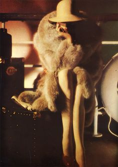 """Star Dressing: Fur, with feeling…"": Anjelica Huston by David Bailey for Vogue UK October 1st, 1973"