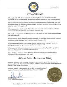 RENTON, WA- Mayoral proclamation recognizing Diaper Need Awareness Week (Sep. 26-Oct. 2, 2016) #DiaperNeed Diaperneed.org