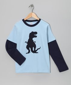 This Sky & Navy T. Rex Layered Tee - Toddler & Boys by Jusami is perfect! #zulilyfinds