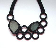 Black bib sea glass necklace 2 frosty seaglass crochet by astash