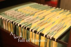A bowl full of lemons.: Organizing my filing cabinet!
