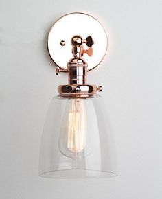 Permo Industrial Edison Antique Single Sconce With Oval Cone Clear Glass Shade 1-light Wall Sconce Wall Lamp (Rose Gold)