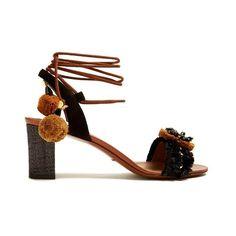 Dolce & Gabbana Flower-appliqué embellished raffia sandals (57,410 MKD) ❤ liked on Polyvore featuring shoes, sandals, black brown, black sandals, brown shoes, ankle tie sandals, brown sandals and black embellished sandals