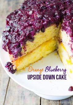 The Best Orange Blueberry Upside Down Cake on ASpicyPerspective.com #cake