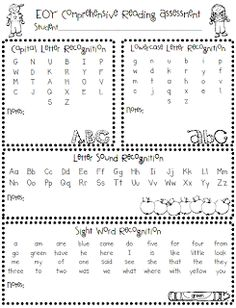 Kindergarten Beginning, Middle and End of Year Assessment