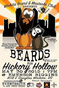 The Wichita Beard and Mustache Club Is having their 3rd annual beard and mustache competition benefiting Hickory Hollow Animal Refuge Foundation, which is no kill animal shelter out of Leon KS. This killer event is being held at Emerson Biggins Old Town, 808 E Douglas Ave at 7pm. Please support this event and their other great sponsors like Russell Marine Products, SGT. C's Leathers, The Mens Cut at Hillcrest Plaza, #TailsAndScales and of course #EmersonBiggins…