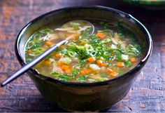 Chicken and vegetable soup is always welcome on a chilly day, this one is ready in just over 30 minutes.