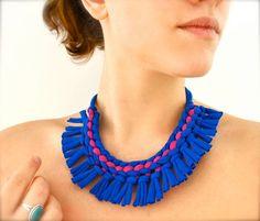 necklace - blue magenta fringe upcycled fabric jewelry