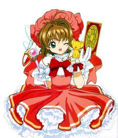 Cardcaptor Sakura: Sakura Kinomoto in red and white dress