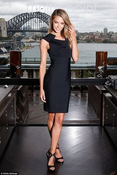 Model to mogul: Jennifer Hawkins wore a figure-hugging Roland Mouret dress and Kurt Geiger heels to attend an exclusive function for luxury property development Trinity Point at Cafe Sydney on Wednesday