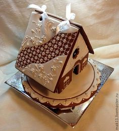 """Pretty gingerbread house - I like the mixture of a patterned and """"snowy"""" roof! Gingerbread Village, Gingerbread Decorations, Christmas Gingerbread House, Christmas Sweets, Gingerbread Man, Christmas Baking, Gingerbread Cookies, Christmas Cookies, Ginger House"""