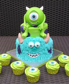 Great Birthday Cakes Ideas for Boys - Look! It is Mike and James from the movie Monster Inc.:) Awesome cake and cupcakes.