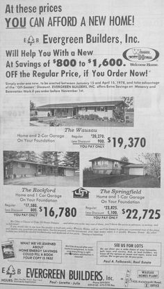 Sept. 21, 1977 - Evergreen Builders, Inc. advertisement for new homes. Own a new home from $16,780.