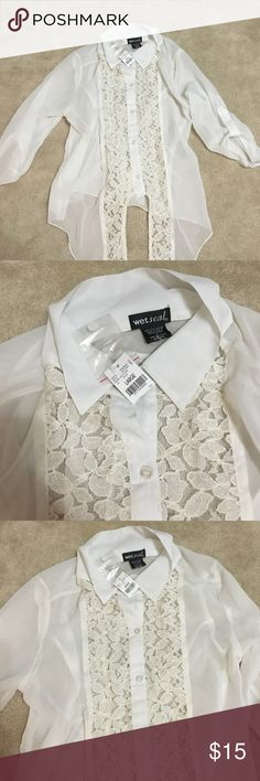 Wet Seal White Sheer Lace Top Sz L (New with tags) Wetseal White Sheer Lace Top Sz L (New with tags)... Button up... Sheer (see-thru)... Large but may fit a curvy Medium also... Never worn... New with tags Wet Seal Tops