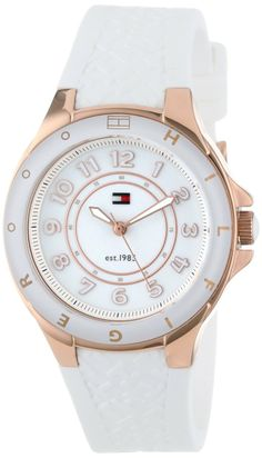 $76. Tommy Hilfiger Women's 1781275 Sport White Silicon Rose Gold Watch: Watches: Amazon.com