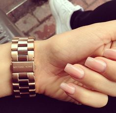 MK watch with cute nude nails. Dope Nails, Nails On Fleek, Nail Games, Manicure And Pedicure, Pedicures, Natural Nails, Nails Inspiration, Fashion Inspiration, Beauty Nails