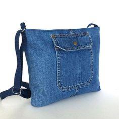 Denim crossbody bag , recycled jean purse , upcycled blue denim travel bag , teen girls denim purse,Jean shoulder bag,top zip side bag by Sisoibags on Etsy https://www.etsy.com/listing/214968039/denim-crossbody-bag-recycled-jean-purse