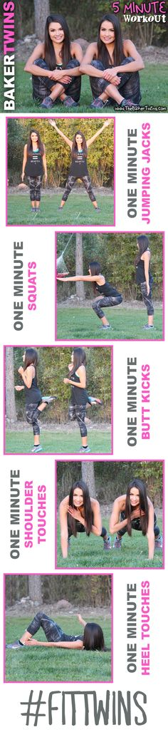 Do 5 minute workouts with us! Get toned legs and abs in 5 minutes! - The Baker Twins