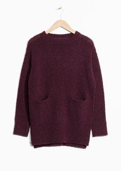 & Other Stories | Waist Pockets Knit Sweater | Burgundy