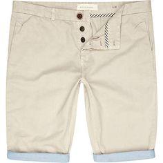 pale grey roll leg shorts - casual shorts - shorts - men - River Island