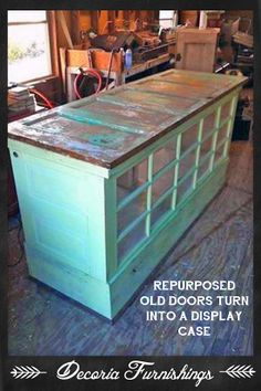 Display case or kitchen island made entirely from old doors! Brilliant!