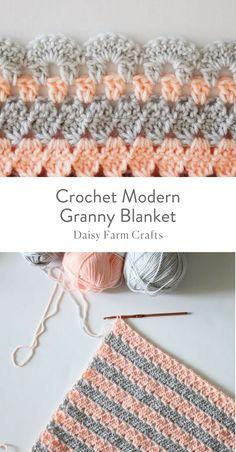 Free Pattern - Crochet Modern Granny Blanket  #crochetpattern